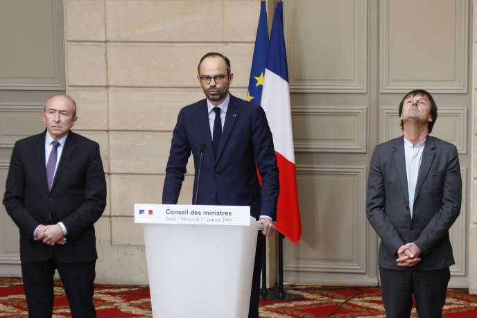 Le ministre de l'intérieur Gérard Collomb, le premier ministre Edouard Philippe et le ministre dela transition écologique et solidaire Nicolas Hulot, le 17 janvier, à l'Elysée, lors de l'annonce de l'abandon du projet de l'aéroport de Notre-Dame-des-Landes.