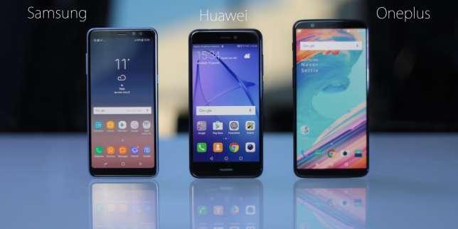 Le Samsung A8 et le Oneplus 5T