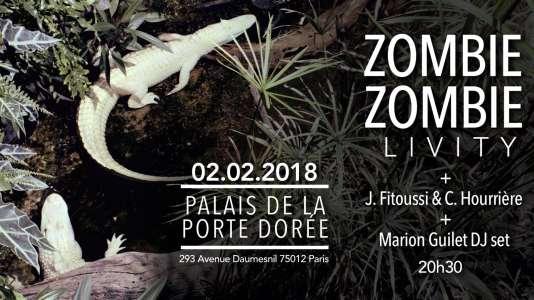 Affiche de la soirée de Zombie Zombie au Palais de la Porte Dorée.