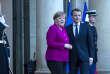 Emmanuel Macron, président de la république, reçoit la chancelière allemande Angela Merkel au palais de l'Elysée à Paris, vendredi 19 janvier 2018 - 2018©Jean-Claude Coutausse / french-politics pour Le Monde