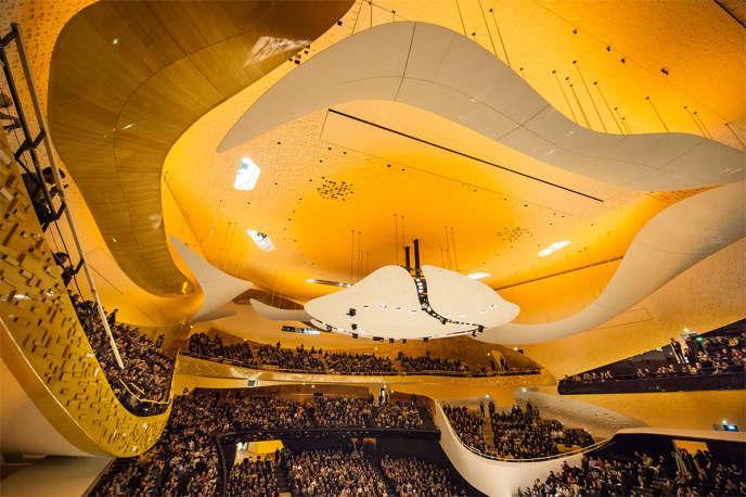 La grande salle Pierre-Boulez à la Philharmonie, en 2015.