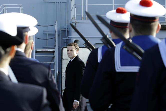 Emmanuel Macron s'est adressé aux armées à bord du porte-hélicoptères « Dixmude », le 19 janvier.