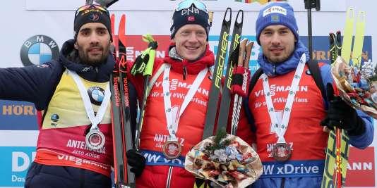 Un podium de rêve pour la poursuite d'Antersela, samedi 20 janvier : Martin Fourcade, Johannes Boe et Anton Shipulin.