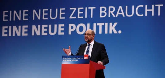 Martin Schulz, le leader du SPD lors de son discours au congrès de son parti.