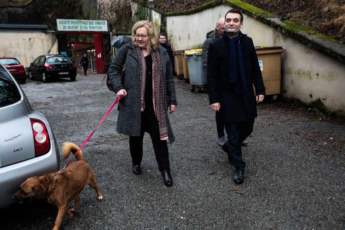 Florian Philippot et Sophie Montel, vice-présidente des Patriotes,en visite à la SPA de Belfort.