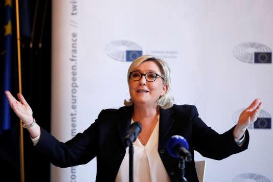 Marine Le Pen lors d'une conférence de presse à Paris, le 22 janvier 2018.