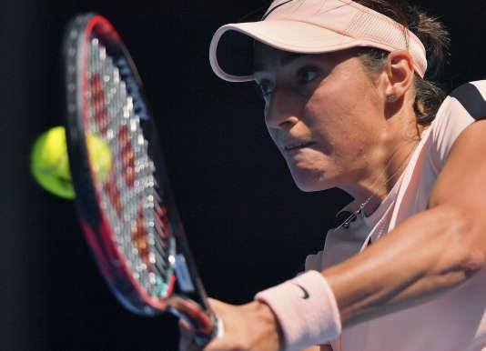 Caroline Garcia lors de son match face à Madison Keys, le 22 janvier.