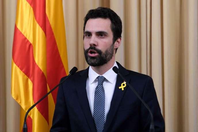 Le nouveau président du Parlement catalan, Roger Torrent, à Barcelone le 22 janvier.