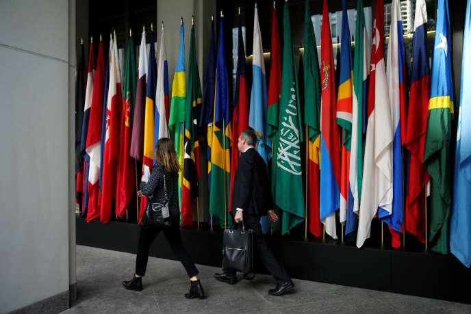 Le siège du Fonds monétaire international à Washingon, le 14 octobre 2017. Dans ses prévisions publiées lundi, l'institution estime que le PIB planétaireprogressera de 3,9% en2018 et 2019.