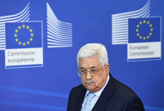 Le président palestinien Mahmoud Abbas lors de sa visite à la Commission européenne, à Bruxelles, le 27 mars 2017.