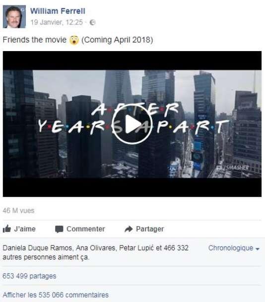 Partage du prétendu trailer du films «Friends» par William Ferrell, le 19janvier.
