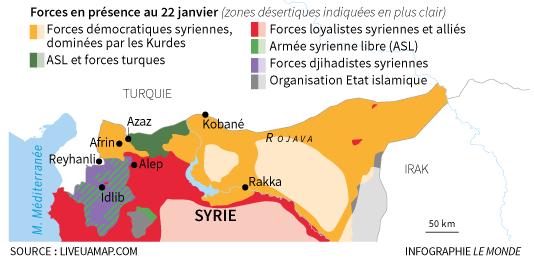 Les forces en présence en Syrie, au 22 janvier.
