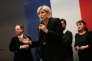 Marine Le Pen lors de la galette des rois de la fédération FN du Nord, à Caudry, le 21 janvier 2018.