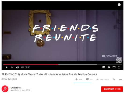 Vidéo du prétendu trailer du films « Friends » par la chaîne Youtube Smasher.