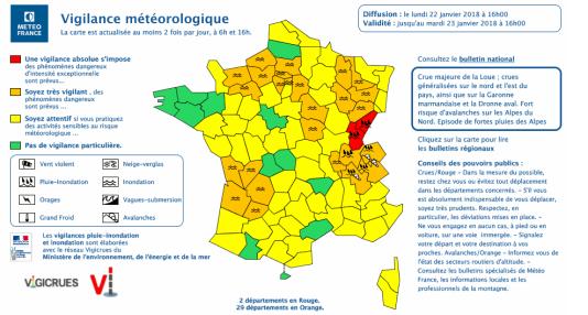 Carte de vigilance de Météo France, pour le lundi 22 janvier.