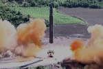 Lancement du premier missile balistique intercontinental de la Corée du Nord , en juillet 2017.