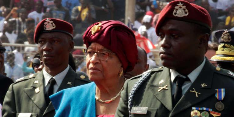 L'ancienne présidente du Liberia,Ellen Johnson Sirleaf, lors de la cérémonie d'investiture de George Weah, le 22 janvier 2018, à Monrovia.