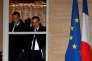 Gilles Simeoni, président du conseil exécutif de Corse, et Jean-Guy Talamoni, président de l'Assemblée de Corse, à Matignon, lundi 22 janvier.