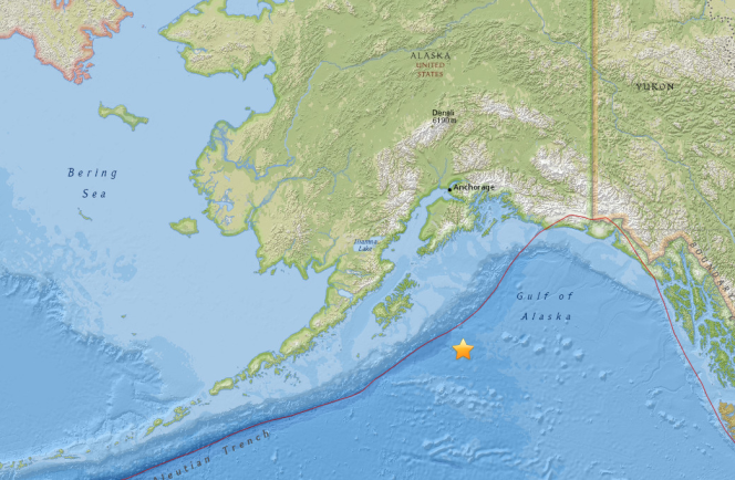 Localisation de l'épicentre du séisme du 23 janvier 2018, dans le golfe d'Alaska.