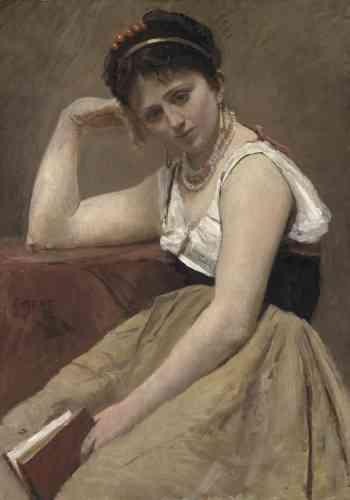 « Le modèle pose ici dans un costume typiquement italien : le peintre construit son tableau de façon très géométrique. Ce qui l'intéresse est la juste répartition des masses et des volumes. »