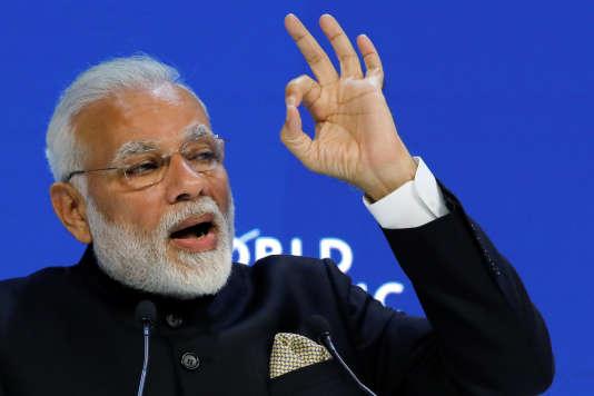 Le premier ministre indien Narendra Modi à l'ouverture du Forum économique mondial à Davos, le 23 janvier.