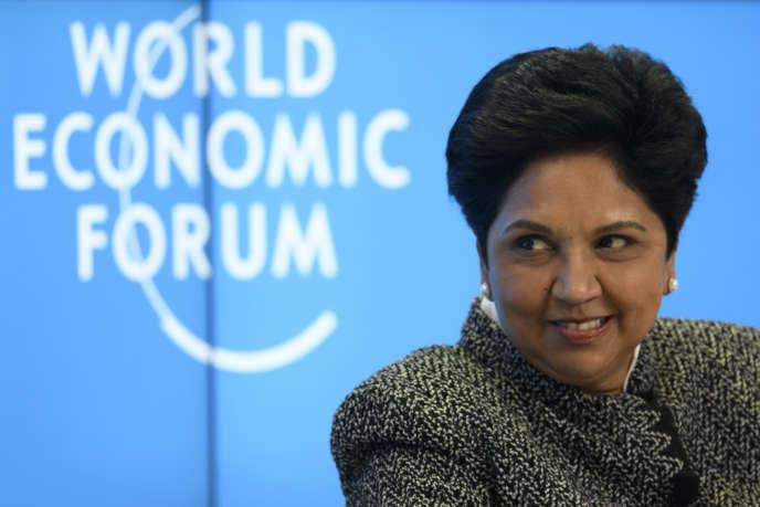 Indra Nooyi, PDG du groupe PepsiCo, lors du Forum économique mondial de Davos, le 23janvier.