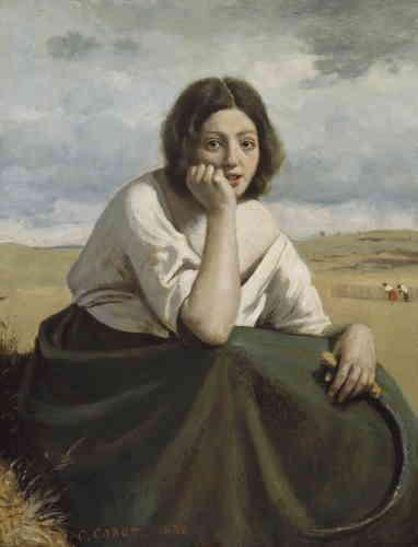 « Le peintre reprend ici un thème à la mode : celui de la paysanne italienne. Il lui donne une touche réaliste, notamment dans l'expression du visage. »