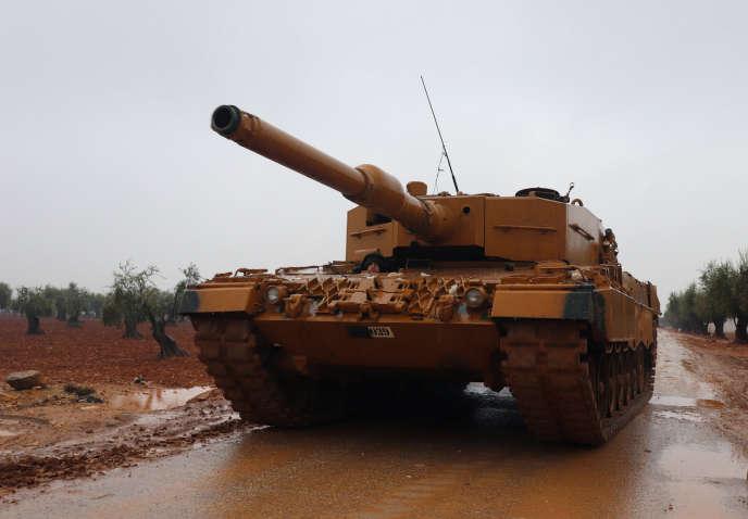 Un char de l'armée turque à proximité d'Afrin, le 23janvier 2018.