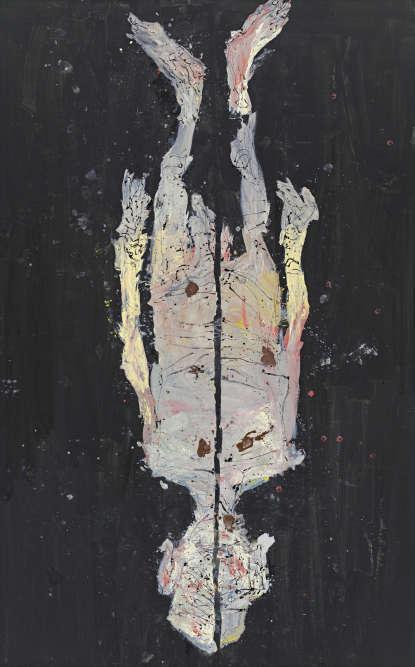 «Dans ce tableau, la couleur est quelque peu retenue et le corps coupé en deux. L'idée en était venue à l'artiste après un rêve dans lequel il s'était vu lui-même sous la forme d'un nu, ouvert en deux comme un arbre fendu dans sa longueur d'un coup de hache. La verticale entre les deux moitiés inégales du corps donne une grande tension à la composition.»