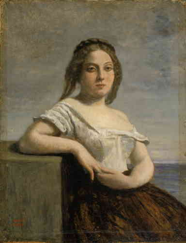 « Ici, il s'agit de l'une des figures que Corot aimait le plus. Le modèle adopte une pose inspirée par Titien et dégage une sensualité distante. »