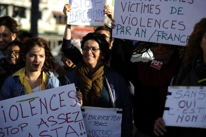 Manifestation contre les violences faites aux femmes le 29 octobre 2017 à Marseille.