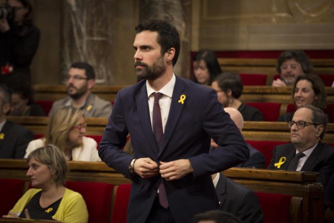 Roger Torrent, le jour de son éléction à la présidence du Parlement de Catalogne, endécembre2017.
