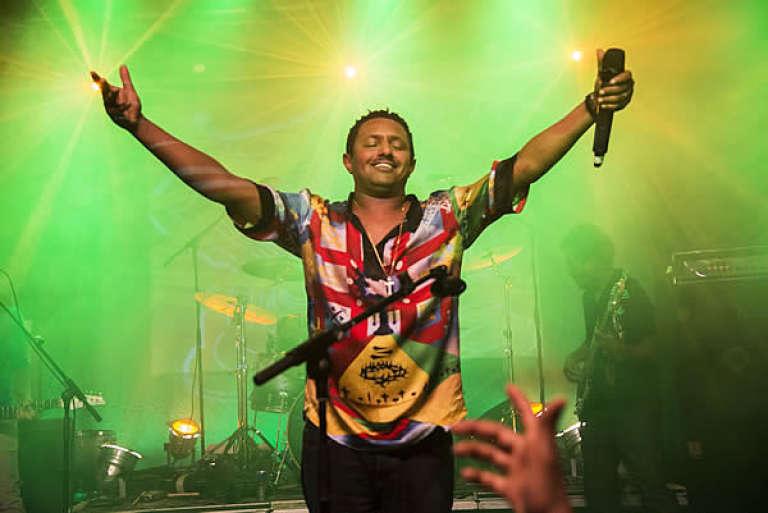 Teddy Afro lors d'un concert en 2014.