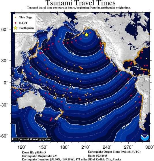 Vitesse de propagation du tsunami déclenché par le séisme du 23 janvier dans le golfe de l'Alaska.