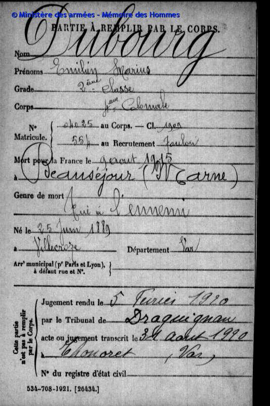 Les informations présentes sur les fiches manuscrites de l'armée française, ici celle d'Emilien Marius Dubourg, ont été recoupées et numérisées par les internautes.