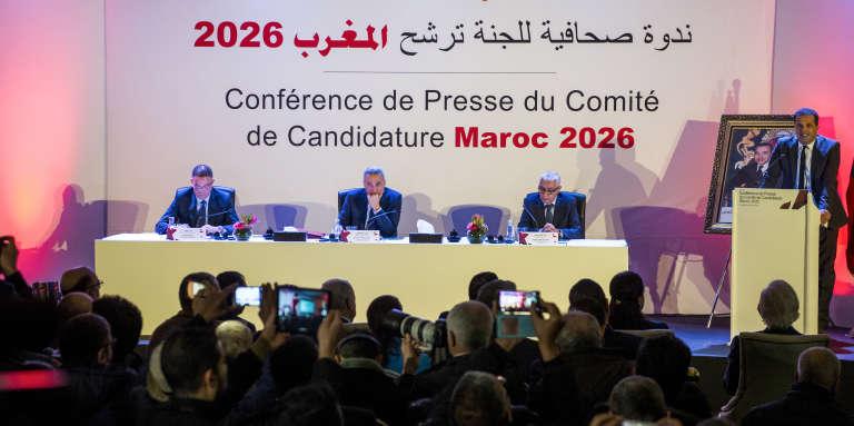 La conférence de presse du comité de la candidature marocaine au Mondial 2026 de football, à Casablanca, le 23 janvier 2018.