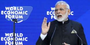 Le premier ministre indien, Narendra Modi, au World Economic Forum, à Davos, mardi 23 janvier.