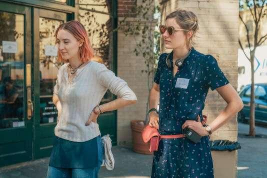 L'actrice Saoirse Ronan et la réalisatrice Greta Gerwig sur le tournage de « Lady Bird ».