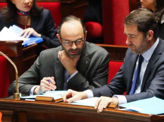 Edouard Philippe et Christophe Castaner, à l'Assemblée, le 24janvier.
