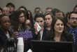 Rachael Denhollander une des victimes de Larry Nassar lors de l'annonce de sa condamnation pour agressions sexuelles, le 24 janvier, à Lansing dans le Michigan.