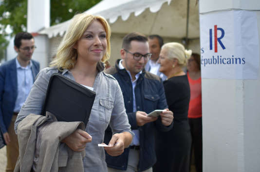 Florence Portelli, ici le 2septembre 2017, réclamait un poids proportionnel à son résultat, soit 16,11 % au bureau politique et à la commission d'investiture.
