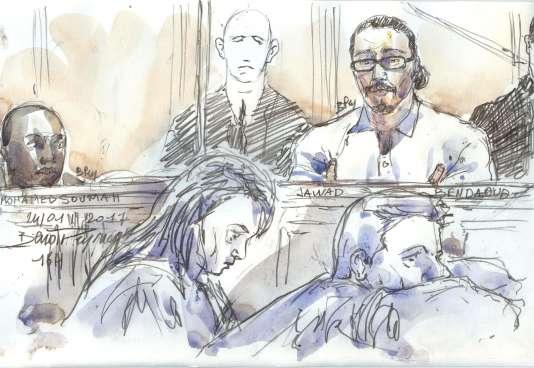 Croquis d'audience deJawad Bendaoud, lors de son procès à Paris, le 25 janvier.