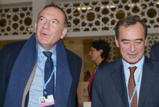 Pierre Gattaz et Bruno Lafont, en décembre 2015 au Bourget.