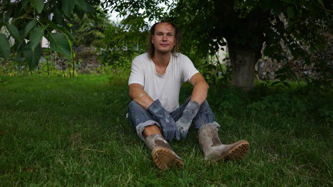 Philipp Zielke,24 ans, volontaire wwoofer dans une ferme en échange du gîte et du couvert, à Asson (Pyrénées-Atlantiques), originaire de Hambourg, en Allemagne.