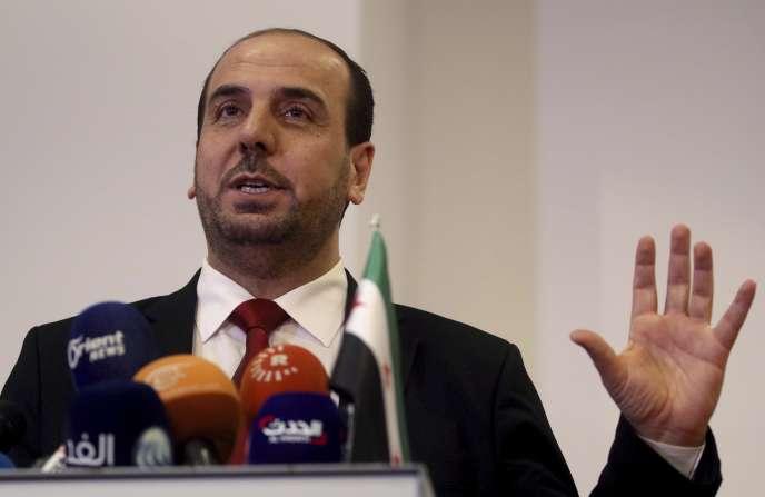 Le président du CNS, Naser Al-Hariri, lors des pourparlers onusiens à Vienne, le 24 janvier.