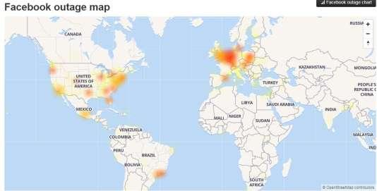 Les zones affectées par la panne de Facebook, jeudi 25 janvier, à 21 heures.