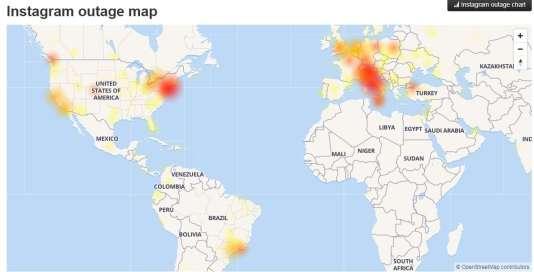 Les zones affectées par la panne d'Instagram, jeudi 25 janvier, à 21 heures.