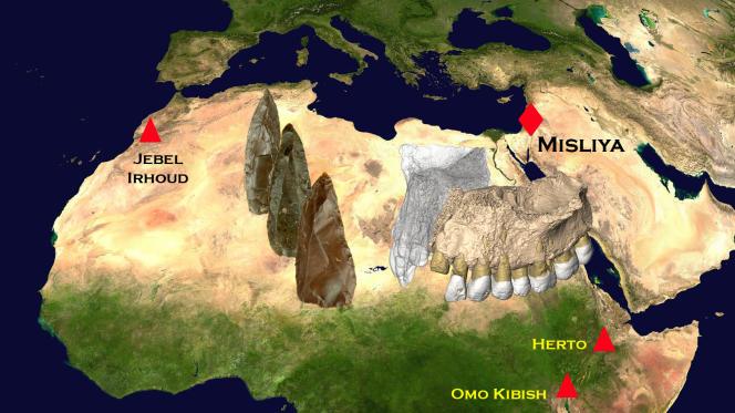 Sites où des fossiles anciens d'«Homo sapiens» ont été trouvés, avec des exemples de pierres taillées de type Levallois.