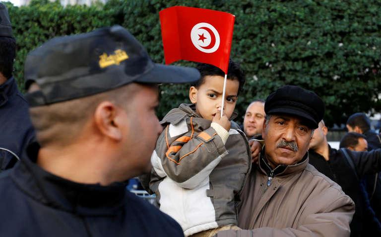 Durant les célébrations du septième anniversaire de la révolution tunisienne, le 14 janvier 2018, à Tunis.