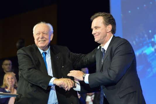 Jean-Claude Gaudin (à gauche) et Renaud Muselier à Marseille le 7février 2014.